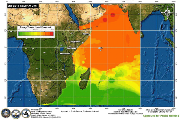 Spread of piracy by beginning of 2011 - orange represents waters with Somali pirates, red represents highest risk zone. Courtesy of Naval Oceanographic Office War Fighting Support Center.