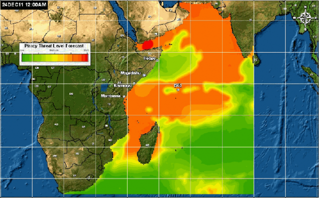 Spread of piracy by end of 2011 - orange represents waters with Somali pirates, red represents highest risk zone.Courtesy of Naval Oceanographic Office War Fighting Support Center.