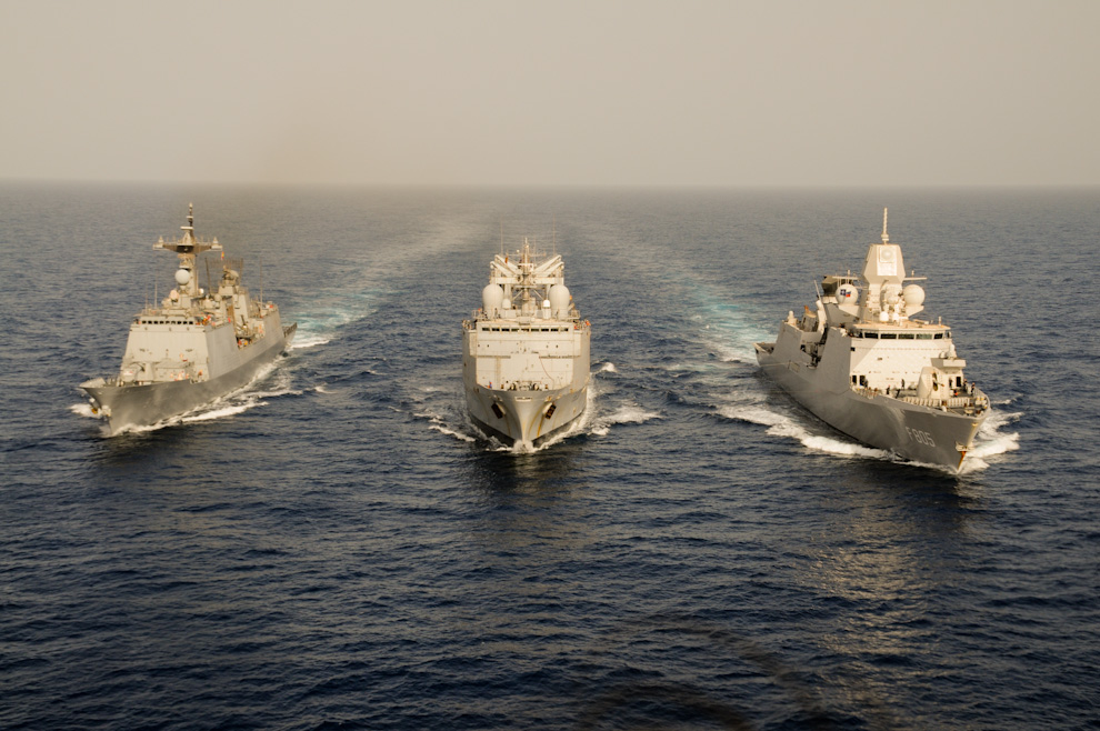 The flagships of the 3 main anti-piracy forces off Somalia. Left to right: Korean frigate Wang Geon, French FS Marne & Dutch frigate Evertsen.