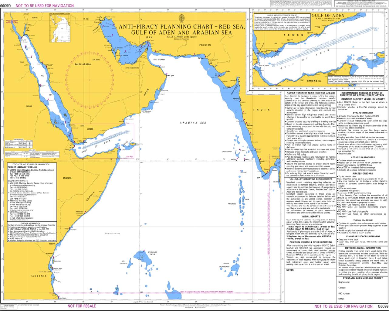 Admiralty chart developed to assist mariners in navigating piracy high risk zones of the NW Indian Ocean.