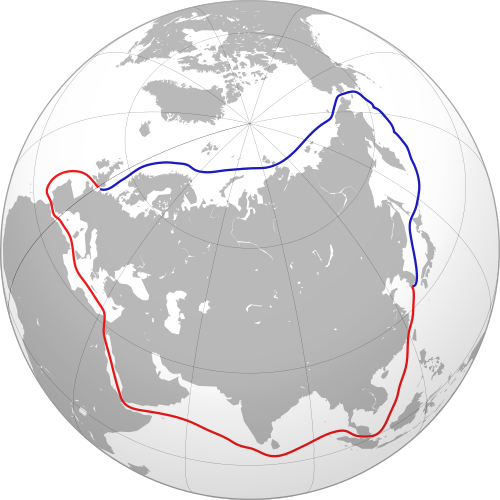 This map shows the 2 ways to get from South Korea to London: either via the Suez Canal or the new Arctic sea passage. The Artic shaves a few thousand miles off the trip, which means hundreds of thousands of dollars in fuel and another week or two in transit time. The Arctic passage has been becoming a reality over the past decade, at least for the summer months. Yet even if the ice shield has broken up in the summer, a chunk of ice the size of an office desk can still do a lot of damage to the standard 3/8ths steel plate on a modern merchant vessel's hull.