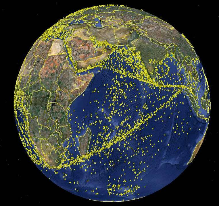 Major sea lanes of the Indian