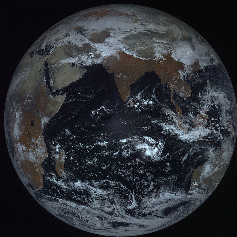 Indian Ocean - satellite view from geostationary orbit - 22,000 miles up.