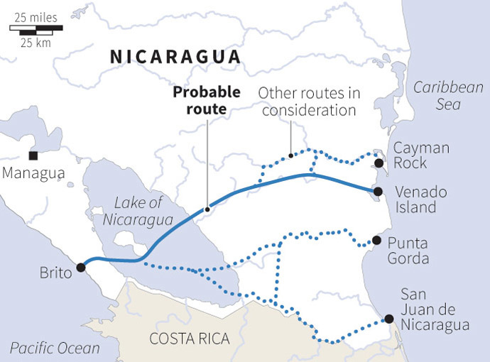 Nicaragua has awarded an exclusive contract to a Hong Kong-based company headed by a Chinese billionaire to develop new plans for an inter-oceanic canal. Here is its most likely path (see graphic). Not a few experts who were polled by the Western press on the heels of the announcement expressed skepticism about the plan's chances, but as details emerged about how the Chinese businessman is partnered with some very serious consultants in engineering, construction and infrastructure, many are giving the news a second look. The businessman claims that the new canal will be open and running by 2020. It would allow ships to transit that will not be able to transit even the new and improved Panama Canal (Panama will be able to handle boxships only up to 13, 200 TEU when the new third locks open in 2015 - while the newest class of big boxship to be delivered later in 2013 will weigh in at 18,000 TEU - so in effect, Panama will still be behind the curve).