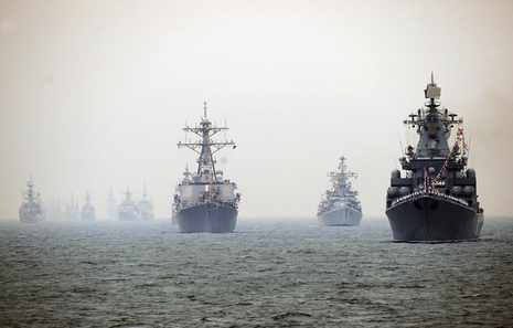 Warships in maneuvers.